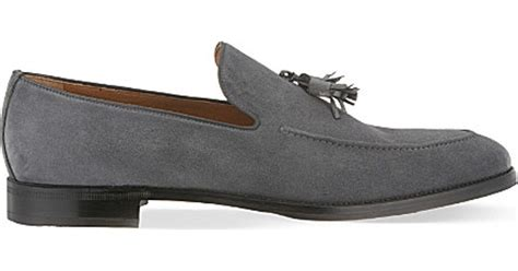 mens grey loafers stemar apron suede tassle loafers in gray for lyst