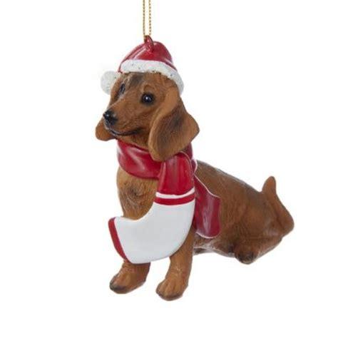 dachshund resin santa ornament 3 9 inches