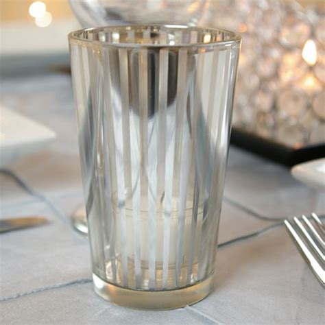 4 Inch Candle Holders Silver Stripe Glass Votive Candle Holders 4 Inch