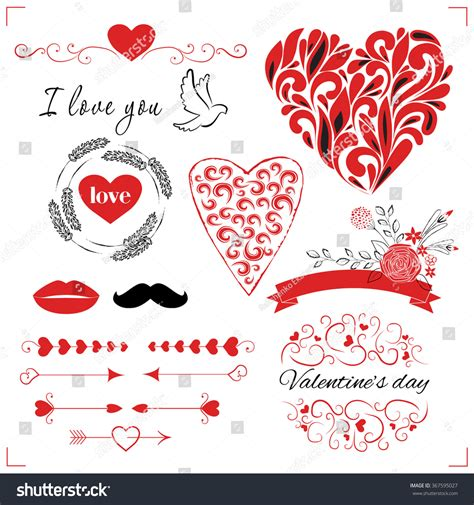 valentines day card template rustic vector collection cards template set stock vector