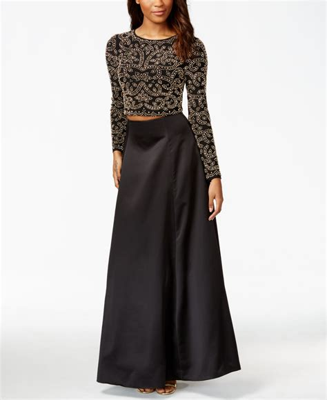 black beaded gown lyst xscape sleeve beaded two gown in black
