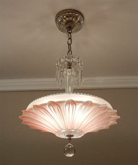 Pink Ceiling Lights Vintage Deco Antique Sunflower Petal Pink Glass Ceiling Light Chandelier Rewired
