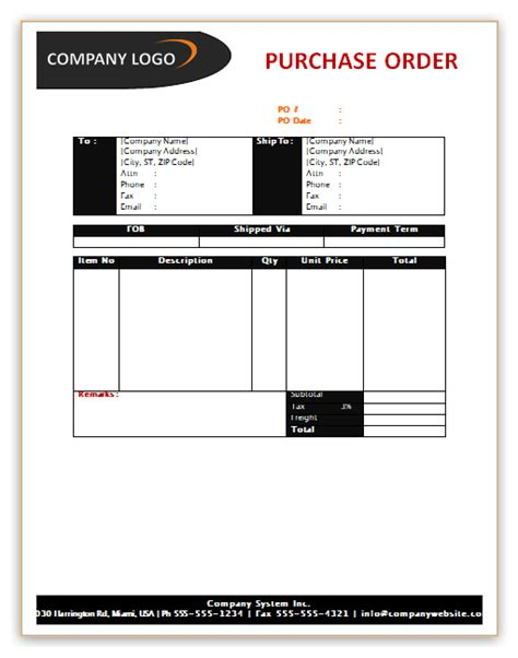 purchase order template save word templates