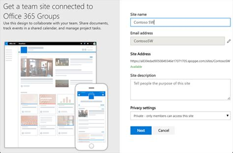 Office 365 Team Site Create A Team Site In Sharepoint Sharepoint