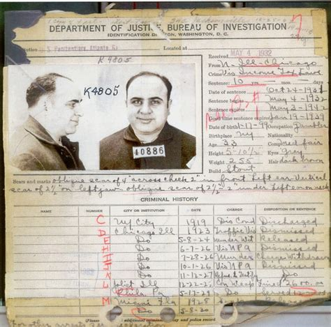 Fbi Arrest Records File Capone S Criminal Record In 1932 Jpg Wikimedia Commons