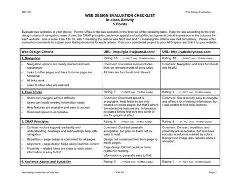 design criteria for a website web design evaluation doc