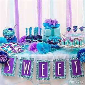 purple blue buffet display idea purple and blue
