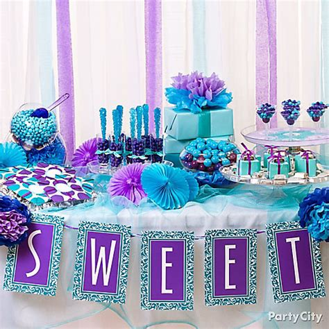 purple blue candy buffet display idea purple and blue