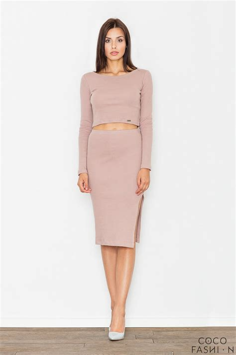 light pink two pieces set top pencil skirt