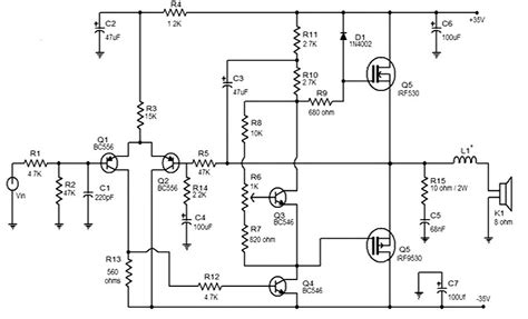 mosfet transistor audio lifier 50 watt mosfet lifier circuit 187 circuitszone