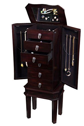dark wood jewelry armoire dark brown poplar wood massive wall standing felt drawers