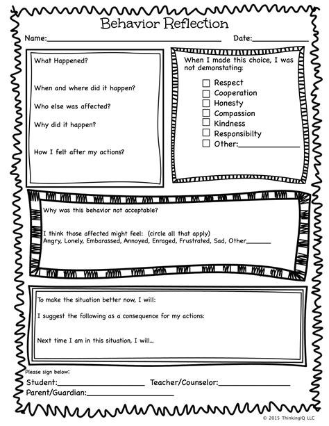 printable behavior journal behavior reflection sheet single page teacher ideas