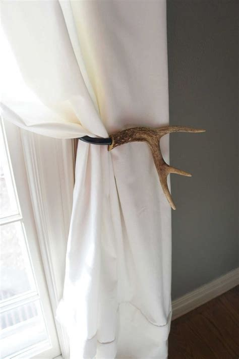 curtain tie back holder curtain tieback deer antler tie back holdback cabin decor