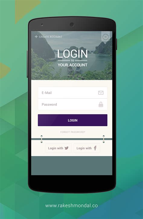 mobile login page android android travel app login screen on behance