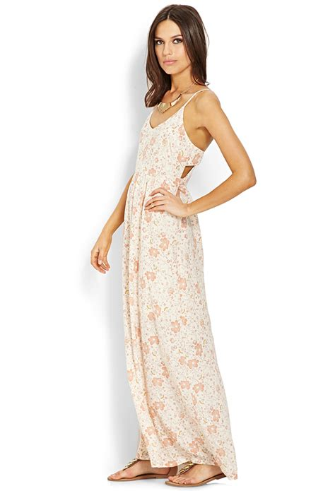 Taypia Flowery Maxi Dress lyst forever 21 floral cutout maxi dress in pink