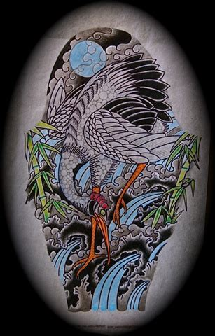 japanese crane tattoo designs japanese half sleeve crane design
