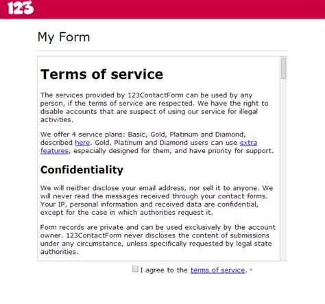 term of service template how to to an agreement request to web form