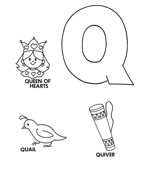 color that starts with q letter q coloring pages and print for free