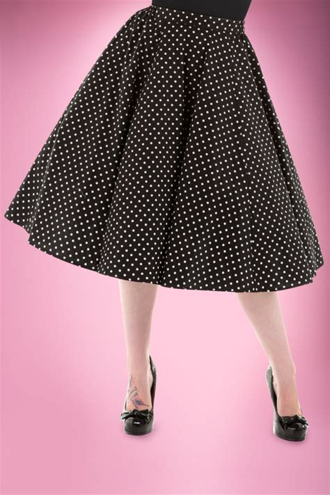 50s swing skirt 50s polkadot swing skirt in black