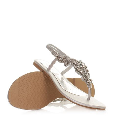 diamante flat shoes womens diamante gem toe post elaborate flat sandals