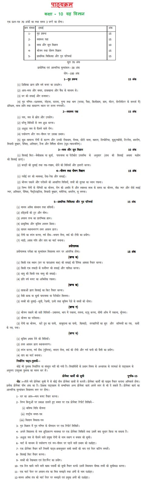 pattern paper of 10th class 2017 up board class 10th home science syllabus 2017 2018