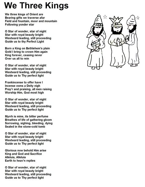 printable version of song lyrics search results for three kings coloring picture