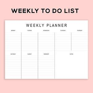 printable to do list landscape printable landscape weekly planner to do list pad a4 size