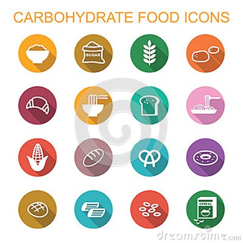 carbohydrates symbol carbohydrate food shadow icons stock vector image