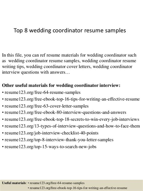 top 8 wedding coordinator resume sles