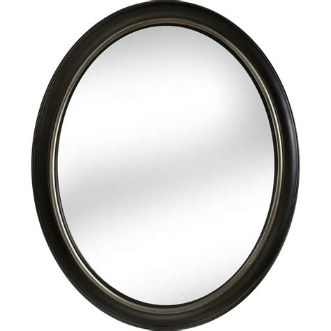 oval bathroom mirrors oil rubbed bronze shop allen roth 24 in x 30 in oil rubbed bronze oval