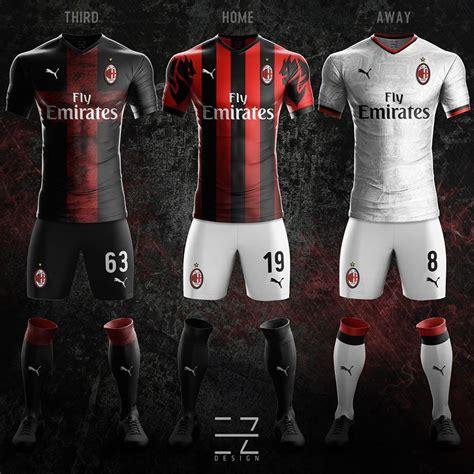 Ac Milan 19 ac milan 18 19 home away third concept kits by ez