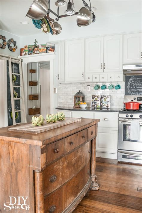 antique island for kitchen eclectic vintage modern farmhouse kitchen diy show diy decorating and home improvement