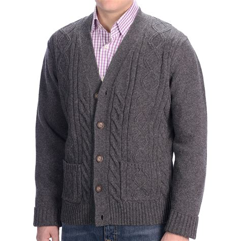 cable knit cardigan mens wool cableknit sweater gray cardigan sweater
