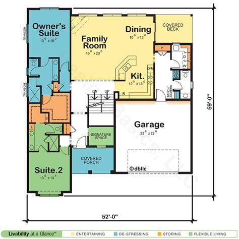 dual owner suite home plan blueprint blues