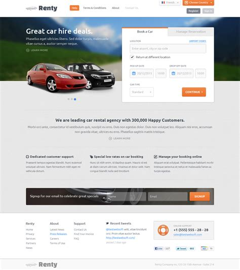 renty car rental booking html5 template by