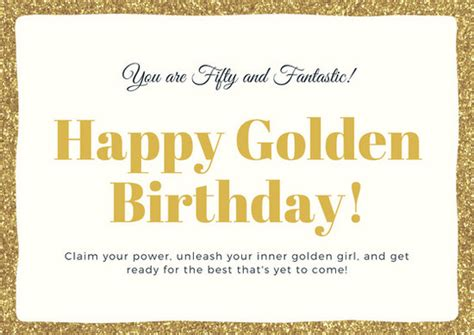 50th birthday card template gold glitters 50th birthday card templates by canva