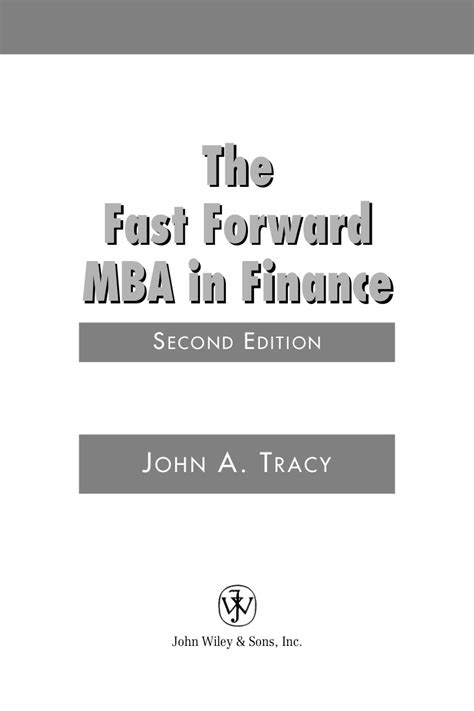 Fast Forward Mba by Fast Forward Mba In Finance