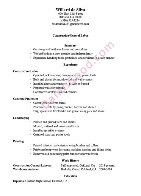 sample resume landscaping laborer best resumes curiculum vitae