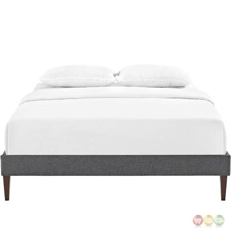 modern queen bed frame sharon modern queen fabric platform bed frame with square