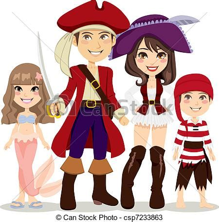 Fairy House Plans Vectors Of Pirate Family Four People Family Celebrating