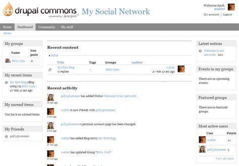 theme drupal commons open source social networking matchup buddypress vs
