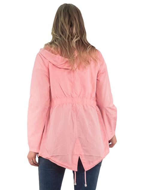 Hooded Plain Parka womens raincoat plain hooded jacket kagool parka