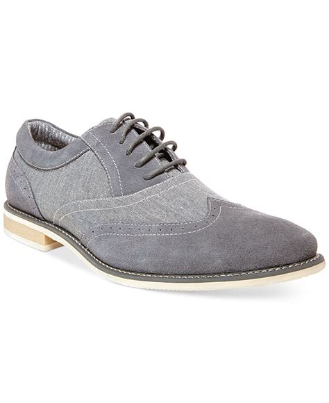 mens grey dress shoes lyst steve madden samson2 wing tip dress shoes in gray