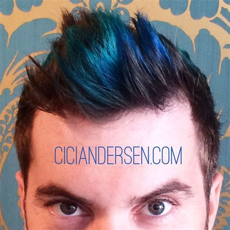 boy color with blue teal and blue highlights for merman hair is so in