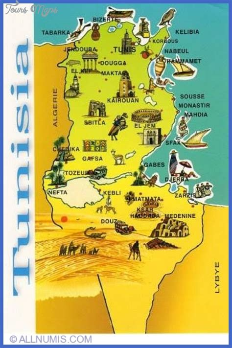 tunisia on map tunisia map tourist attractions toursmaps