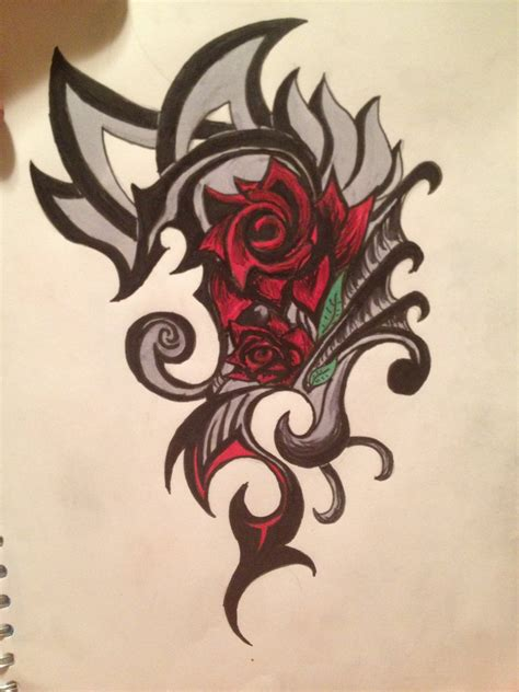 tribal tattoo with roses rose tribal tattoo by swimangel7673 on deviantart