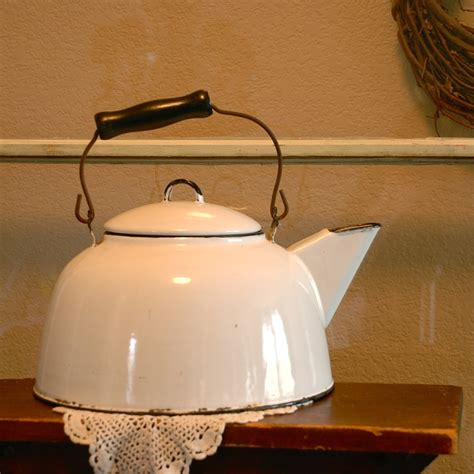 etsy vintage home decor vintage primitive white enamel tea kettle farmhouse ware