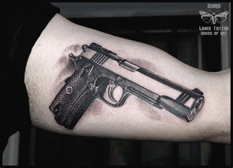 pistol tattoo black and grey gun by sinke