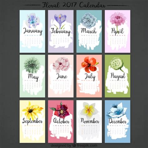 printable calendar flowers calendar collection 2017 watercolor flowers vector free