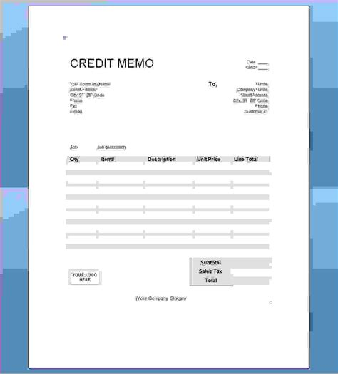 Credit Memo Template Xls 5 A Credit Memo Is A Document Thatreport Template Document Report Template